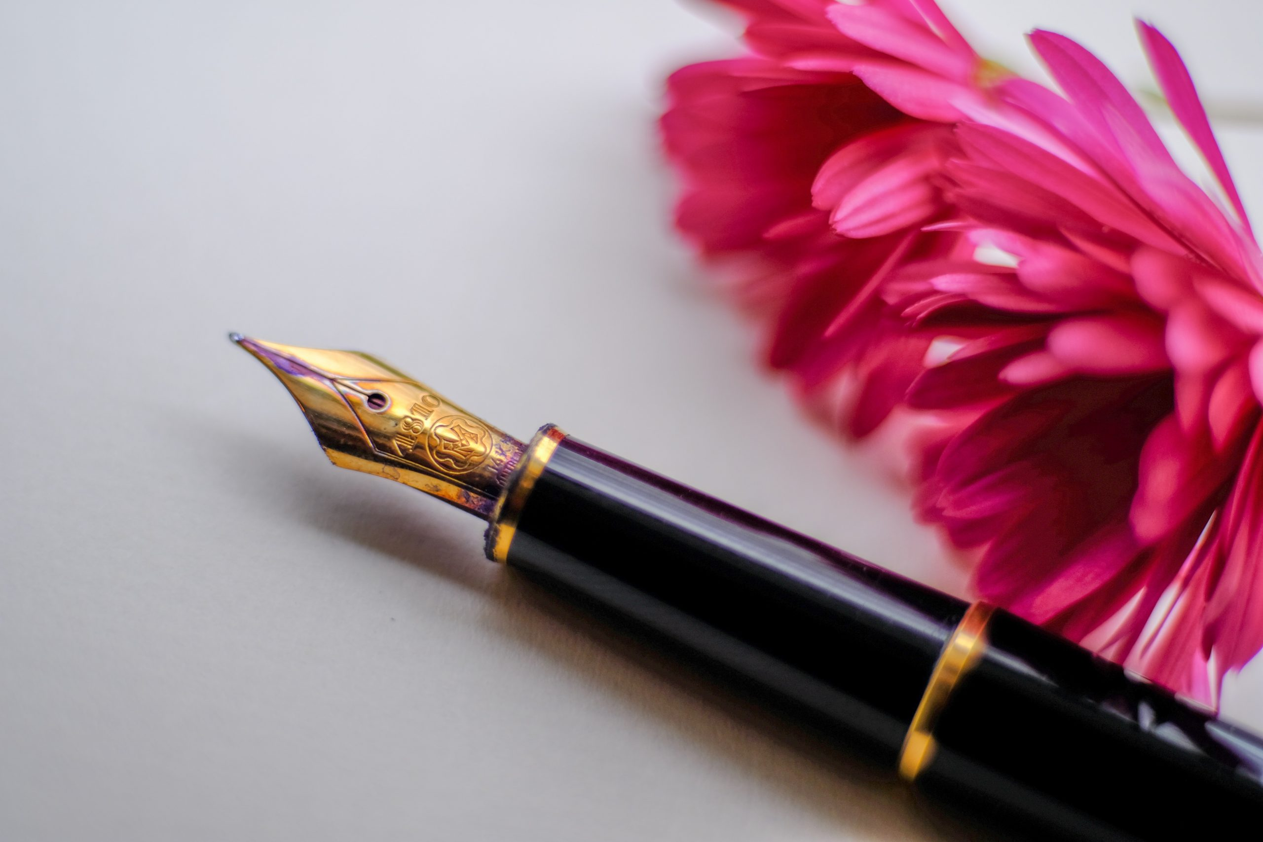 black and gold-colored fountain pen beside flower